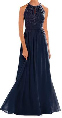 Annadress Women's Halter Lace A-line Chiffon Floor-Length Bridesmaid Dress