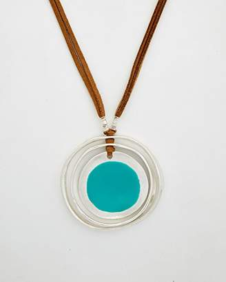 Robert Lee Morris Color Wheel Silver with Enamel and Silver Featuring A Brown Leather Chain Pendant Necklace