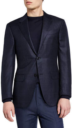 Ermenegildo Zegna Men's Tonal Large Plaid Blazer