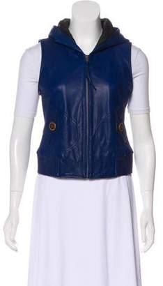 June Hooded Leather Vest