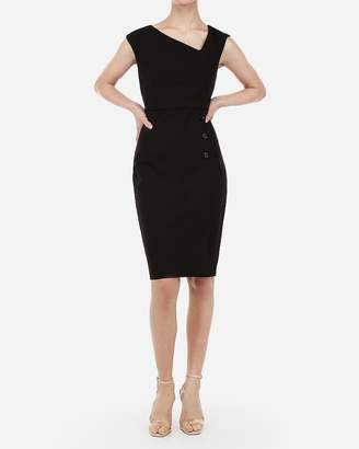 Express Asymmetrical Button Front Sheath Dress