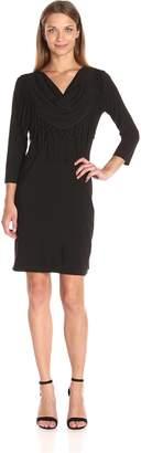 MSK Women's Cowl Neck Long Sleeve Short Dress with Fringe, Black/Cream