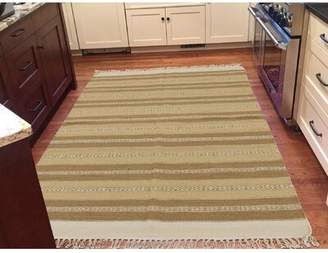 Peugeot Bloomsbury Market Reversible Striped Durie Kilim Flat Weave Hand-Knotted Beige/Light Brown Area Rug Bloomsbury Market