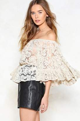 Nasty Gal Lace Up to It Off-the-Shoulder Top
