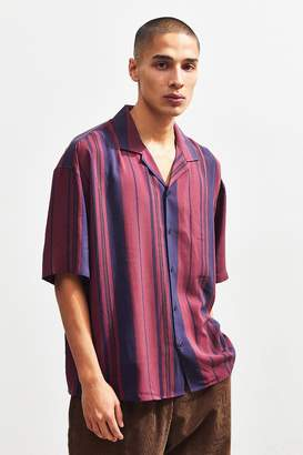 Loom Berry Stripe Short Sleeve Button-Down Pajama Shirt