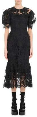 Simone Rocha Short Puff-Sleeve Tulip Lace Midi Dress