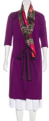 Etro Long Wrap Coat Purple Long Wrap Coat