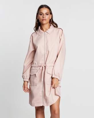 Missguided Oversized Zip-Through Utility Shirt Dress