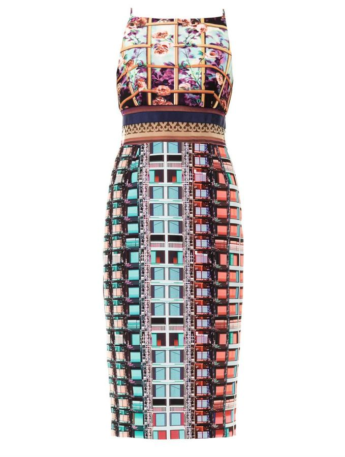 Mary Katrantzou Lanta rose-print sheer panel dress