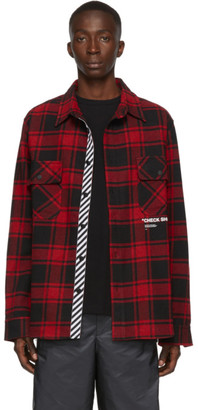 Off-White SSENSE Exclusive Red Quote Flannel Shirt