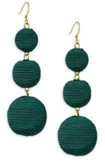 Kenneth Jay Lane Carnival Triple Drop Earrings/Green