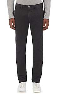Barneys New York MEN'S STRETCH-COTTON FLAT-FRONT TROUSERS - GRAY SIZE 30