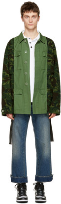 Off-White Green Camouflage Field Jacket $1,255 thestylecure.com
