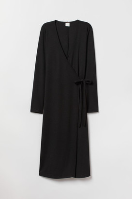 H&M Ribbed Wrap-front Dress - Black