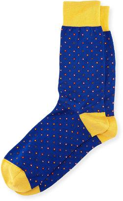 Bugatchi Dotted Cotton-Blend Socks, Royal $16 thestylecure.com