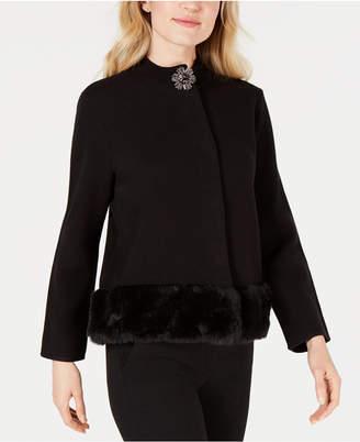 JM Collection Faux-Fur Trim Sweater Jacket