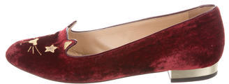 Charlotte Olympia Charlotte Olympia Velvet Kitty Loafers