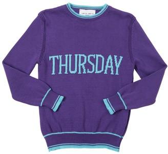 Alberta Ferretti Thursday Intarsia Cotton Knit Pullover
