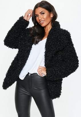 Missguided Black Shaggy Waterfall Faux Fur Jacket