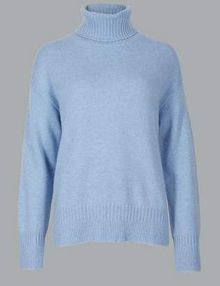 Marks and Spencer Pure Cashmere Textured Roll Neck Jumper