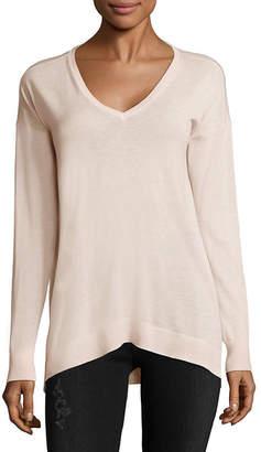 Saks Fifth Avenue Uneven Hem V-Neck Sweater