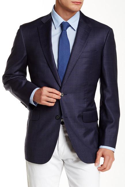 Brooks Brothers Brooks Brothers Dark Blue Mini Check Notch Lapel Two Button Jacket