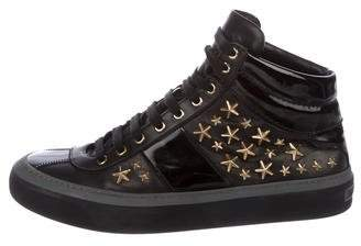 Jimmy Choo Star Patent Leather-Trimmed Sneakers