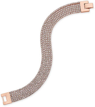 Charter Club Rose Gold-Tone Pave Mesh Link Bracelet, Created for Macy's