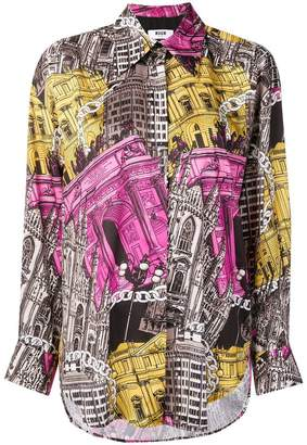 MSGM monument print shirt