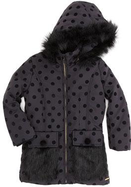 Little Marc Jacobs Faux-Fur Dot Jacket, Black, Sizes 2-5