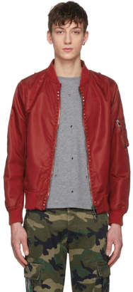 Valentino Red Rockstud Untitled 15 Bomber Jacket