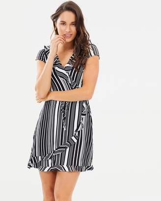 Oasis Stripe Wrap Ruffle Front Dress