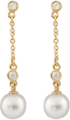 Splendid Pearls 14K Diamond & 7-7.5Mm Akoya Pearl Dangling Earrings
