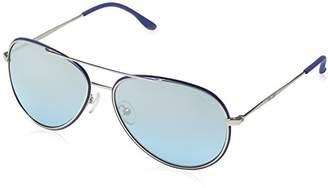 Police S8299 Glory Aviator Sunglasses, SEMI MATT PALLADIUM & BLUE FRAME/AQUA MIRROR LENS