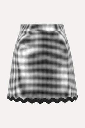 Miu Miu Cord-trimmed Gingham Cotton-blend Mini Skirt - Black
