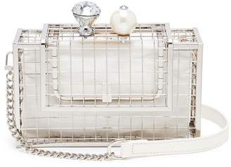 Cecilia Ma 'Bingo' faux pearl glass crystal charm cage brass clutch