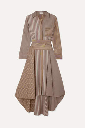 Brunello Cucinelli Asymmetric Striped Cotton-poplin Dress - Camel