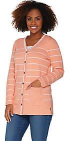 Martha Stewart Button Front Striped Cardiganwith Pockets