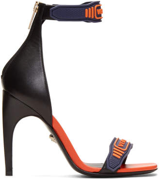 Versace Navy and Orange Logo Strap Sandals