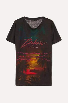 Balmain Printed Linen T-shirt - Black