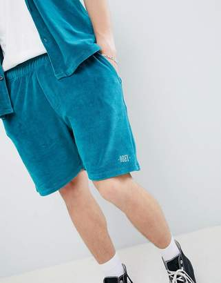 Obey Catalina velour shorts in green