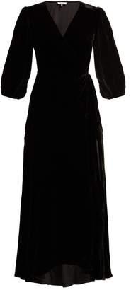 Ganni Aldine Velvet Wrap Dress - Womens - Black