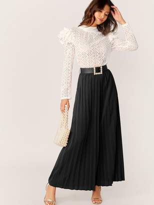 Shein Wide Leg Pleated Pants With Pearl Beading Belt