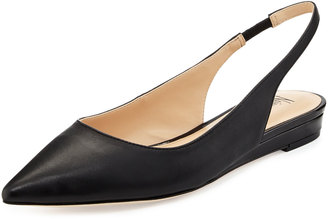 Neiman Marcus Radman Leather Slingback Flat, Black $116.10 thestylecure.com