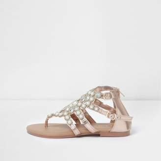 River Island Girls rose gold faux pearl flat sandals