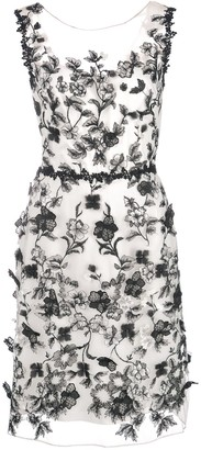 Marchesa sheer floral embroidered mini dress