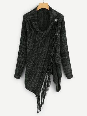 Shein Button And Fringe Detail Jumper