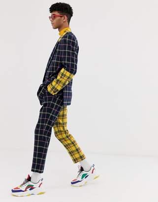 Asos Design DESIGN cigarette suit pants with yellow contrast check detail