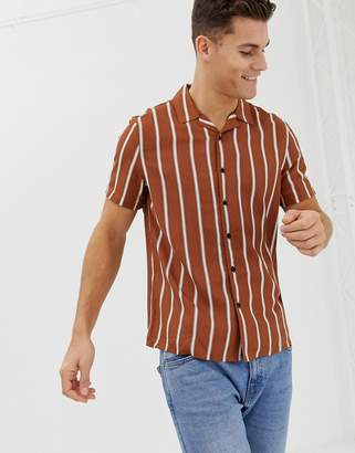 New Look regular fit viscose stripe shirt with revere collar in rust