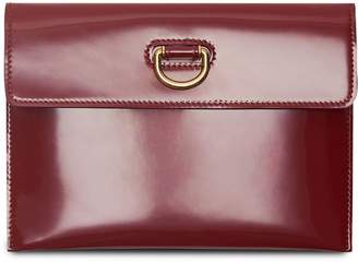 Burberry D-ring Patent Leather Pouch with Zip Coin Case